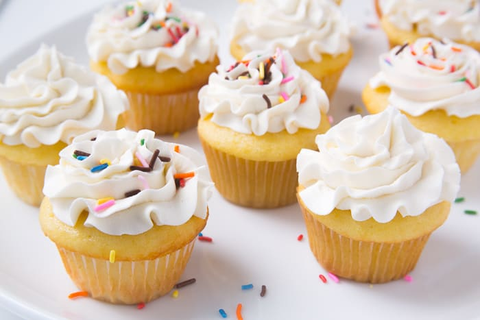 Cupcakes topped with American Buttercream frosting