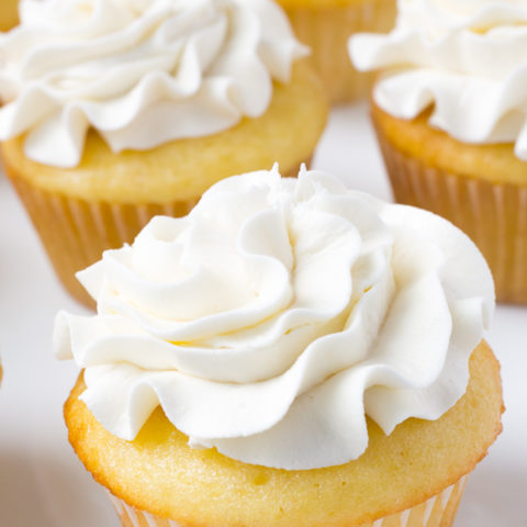 Cupcakes iced with swiss meringue buttercream