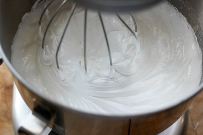 Swiss meringue buttercream being whipped