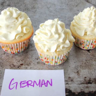Cupcakes decorated with German Buttercream frosting