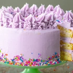 A beautifully frosted 3 layer cake with purple frosting, decorative frosting swirls on top and sprinkles
