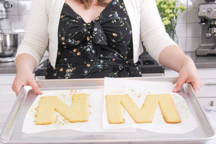 Letters N and M after being baked for the cream tart cake