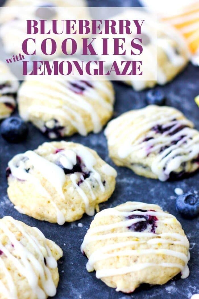 "A shot of cookies with the text over it ""Blueberry Cookies with Lemon Glaze"""