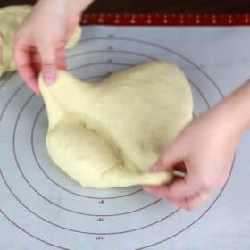 Shaping the dough for a sandwich loaf