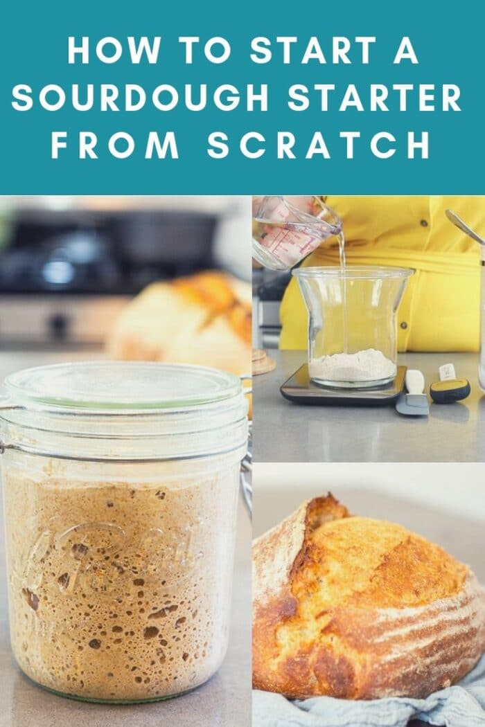Learn the step-by-step process of how to make a sourdough starter from scratch. This easy method is geared towards beginners and will help you get your starter going very quickly. #sourdough