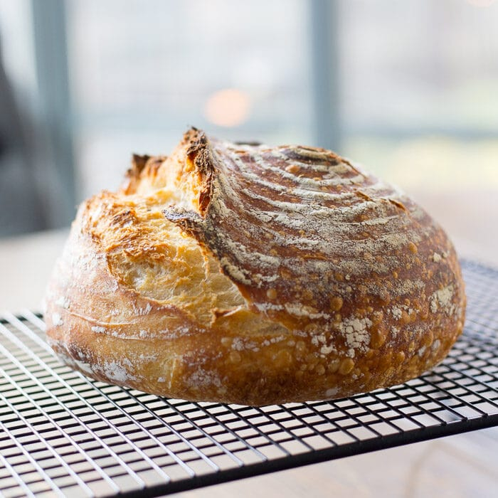 a loaf of sourdough that has been proofed in a banneton basket