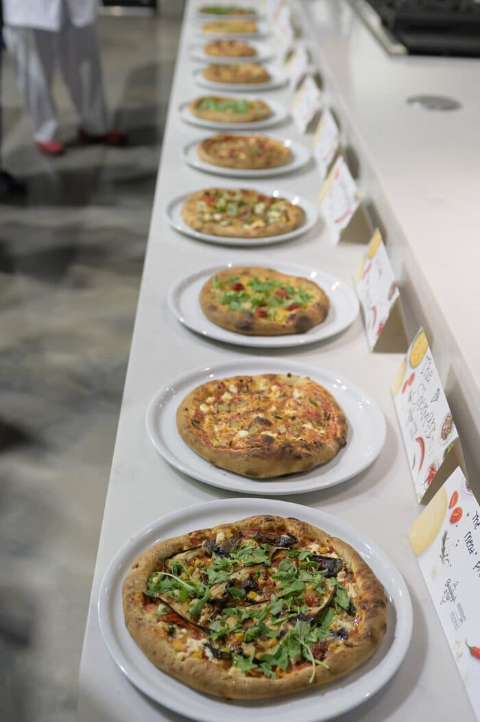 All of the pizzas lined up for the Pizzaoli challenge