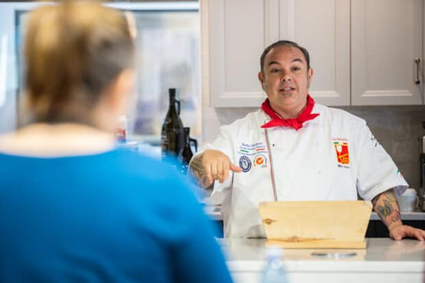 A chef from Red Star Yeast demonstrating using instant sourdough yeast