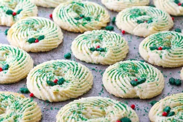 Butter Spritz Cookie Wreaths