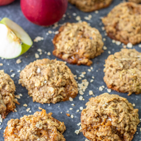 Baked caramel apple oatmeal cookies styled for photography