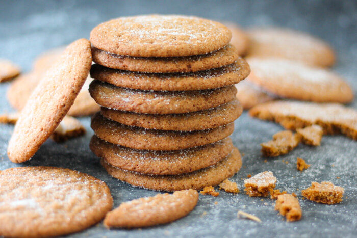 Stack of baked crispy gingersnap cookies