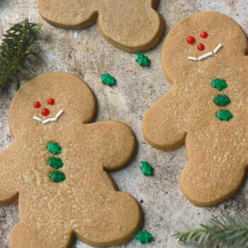 Decorated gingerbread cookies on a sheetpan