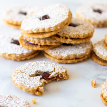 Beauty shot of Hazelnut Linzer cookies sandwiched with jam