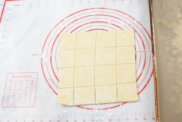 kolaczki dough is cut into 2by2 inch squares