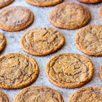 Old Fashioned Chewy Molasses cookies stacked up