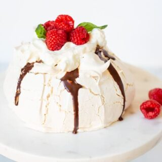 Pavlova with Chocolate and Raspberry