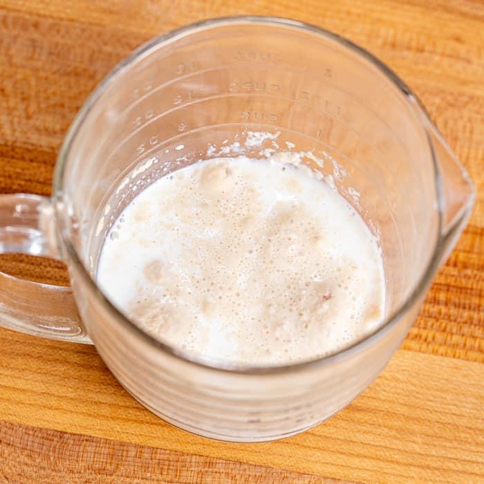 Foamy yeast/milk mixture after proofing yeast