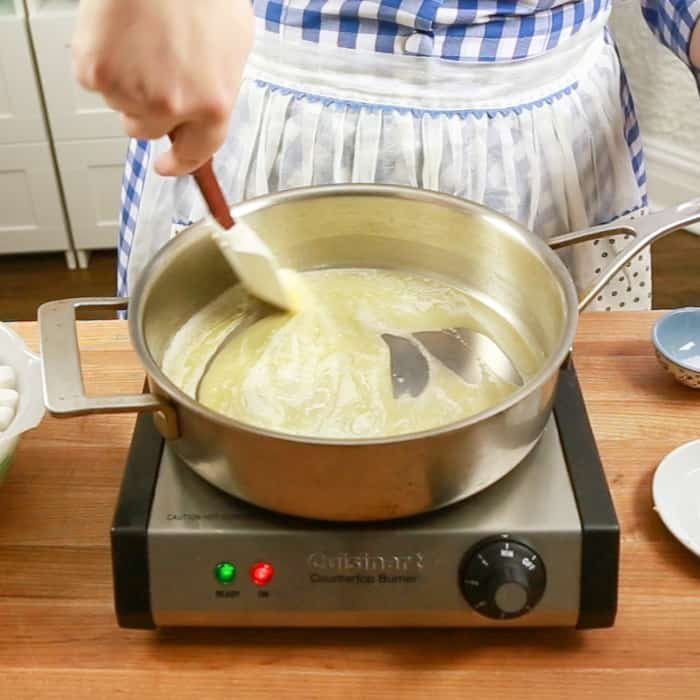Melting butter in a wide pan