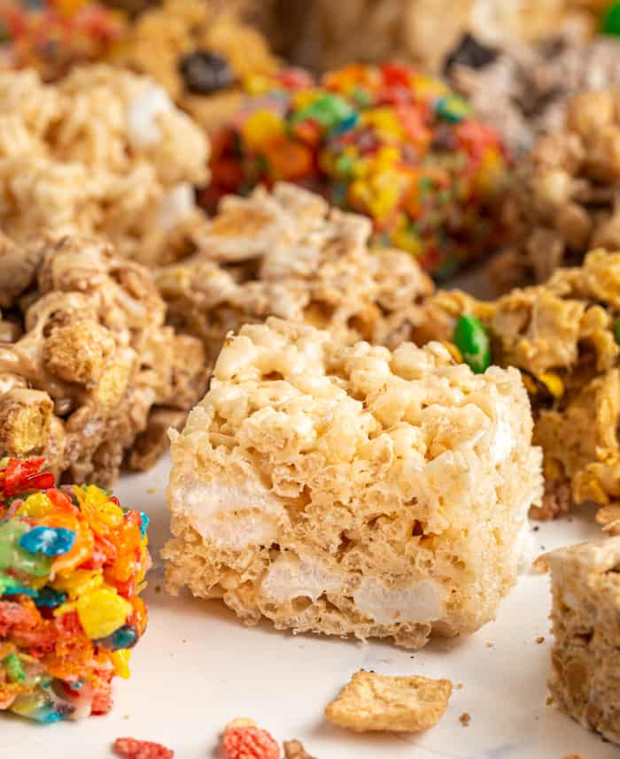 Brown butter rice krispie treat with various other marshmallow treats surrounding it