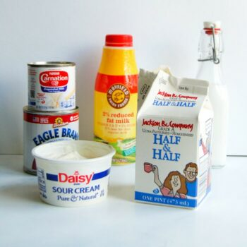 various dairy products including sour cream, half and half, cream, sweetened condensed milk, and condensed milk