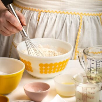 Mixing homemade cake flour in a mixing bowl