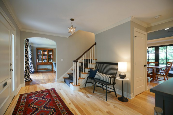 Spacious Foyer with Sanded-in-place Hickory Flooring