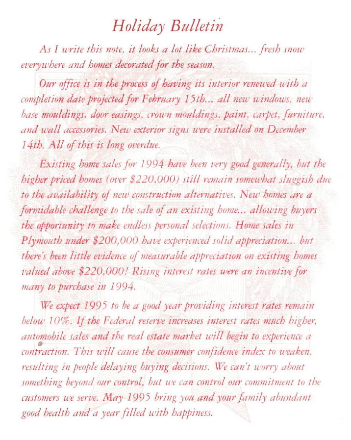 Robert Bake Realtors Holiday Bulletin 1994
