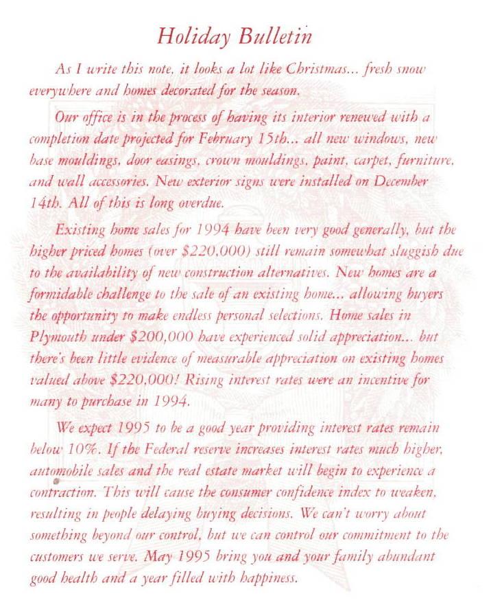 Robert Bake Realtors Holiday Bulletin 1994