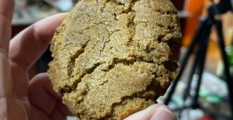 A brown, somewhat crinkly looking spiced cookie being held up in a kitchen setting.