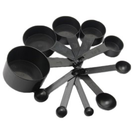 10pc Plastic Measuring Cups Black