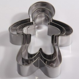 3pcs Christmas Gingerbread Man Cookie Cutters, Stainless Steel