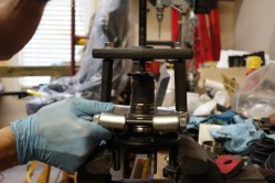 Attach bearing puller and vise.