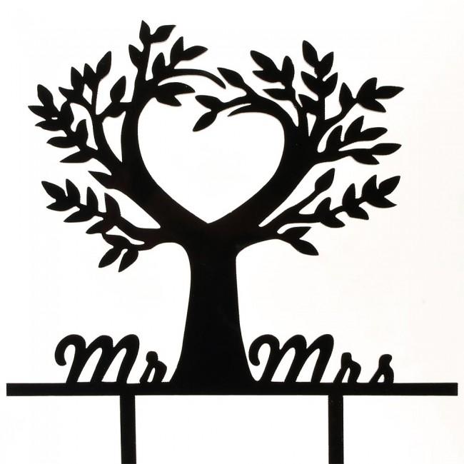 Black Mr Amp Mrs Love Tree Nature Acrylic Wedding Day Cake