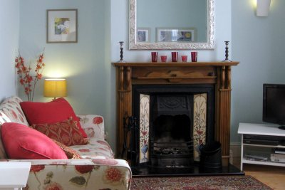 Lounge with open fire and Freeview TV