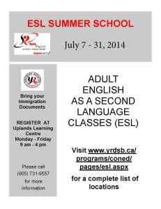 Summer School Flyer 2014