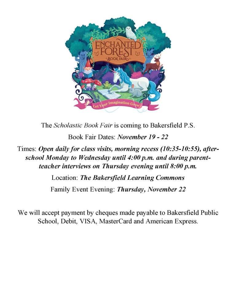 Scholastic Book Fair information