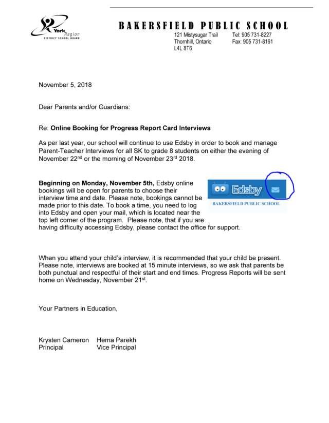 edsby parent teacher interview letter – Bakersfield Public School