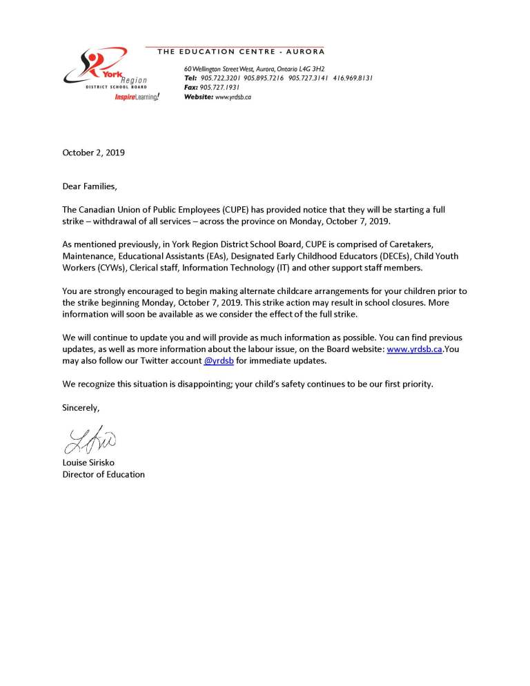Letter to advise families of pending full withdrawal of services - CUPE - October 2 2019