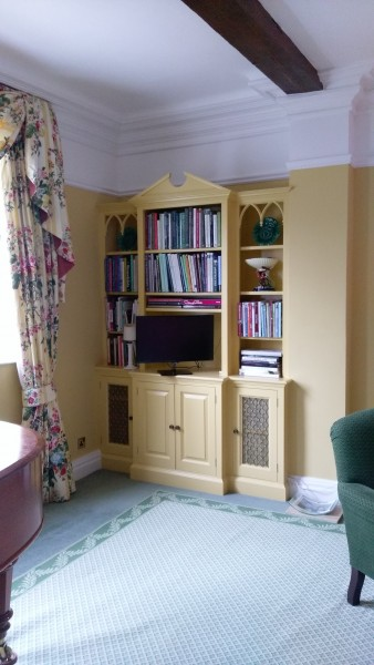 Internal decorations to the drawing room of this country home in the village of Wyck near Alton in Hampshire using Farrow and Ball Modern Emulsion in Farrow & Ball Yellow Ground no. 218