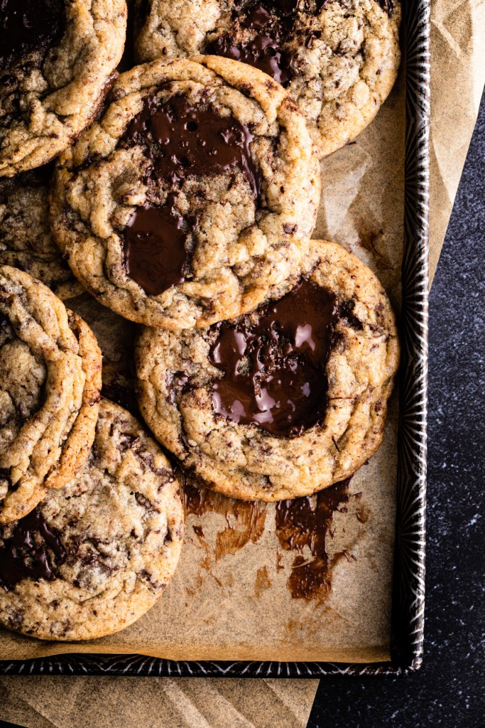 close up of chocolate chunk cookies