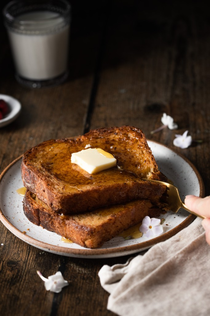 french toast being cut