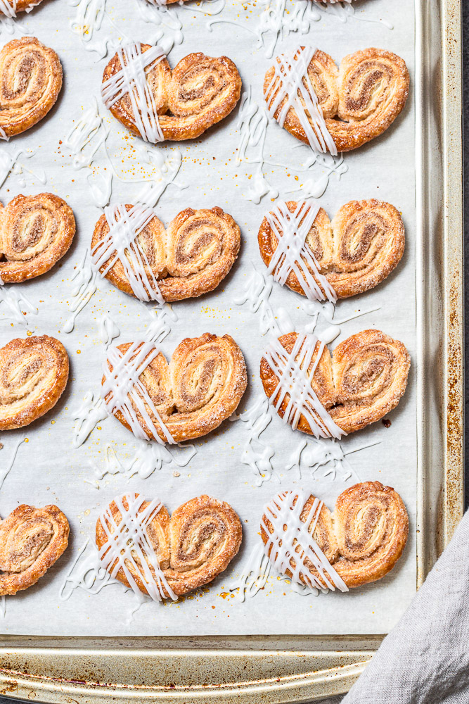 cinnamon palmiers with icing