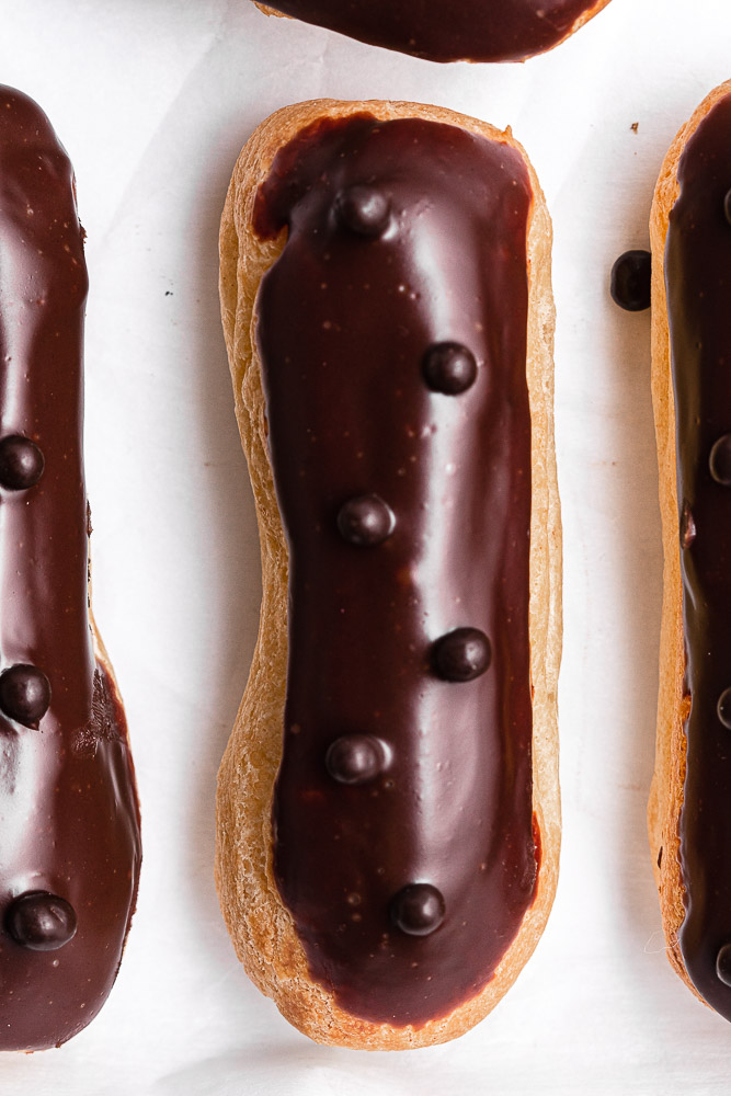 close up of the top of an eclair