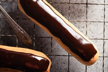 close up of chocolate ganache on an eclair