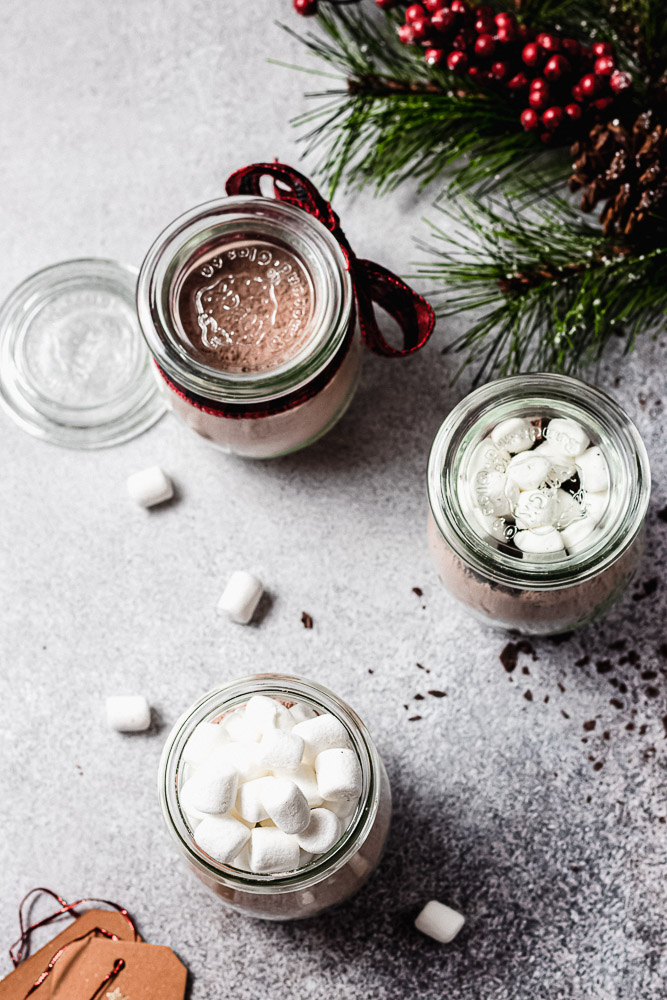 overhead shot of hot chocolate mix in gift jars