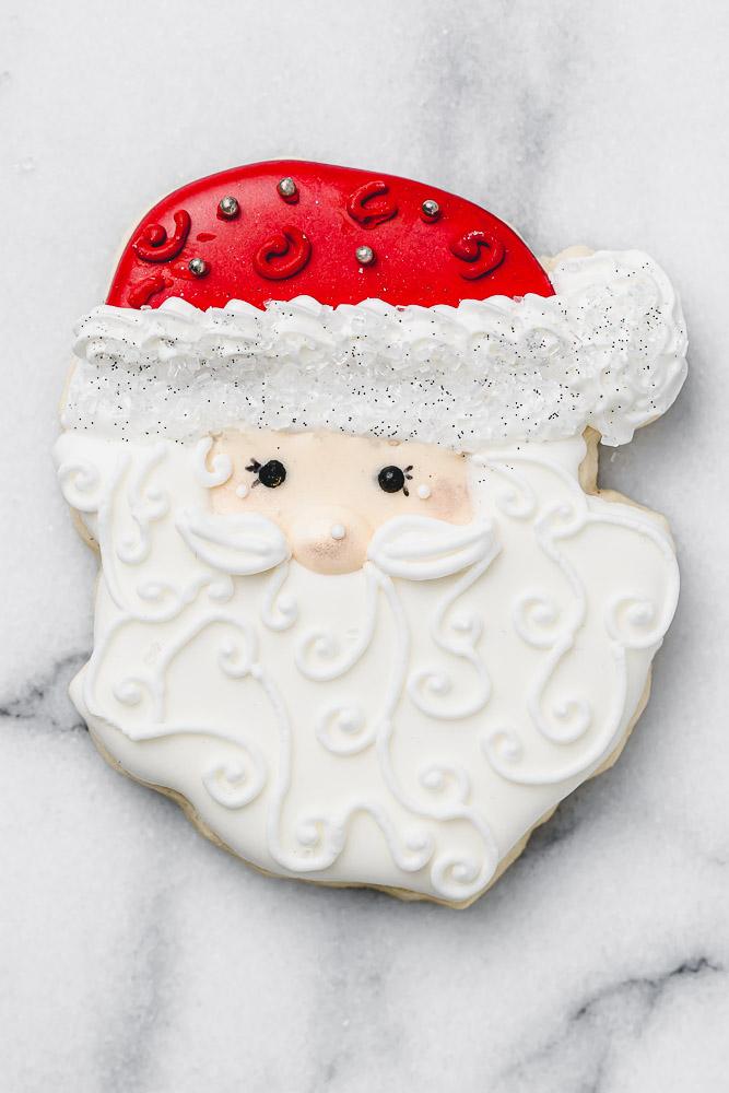 santa royal icing cookie