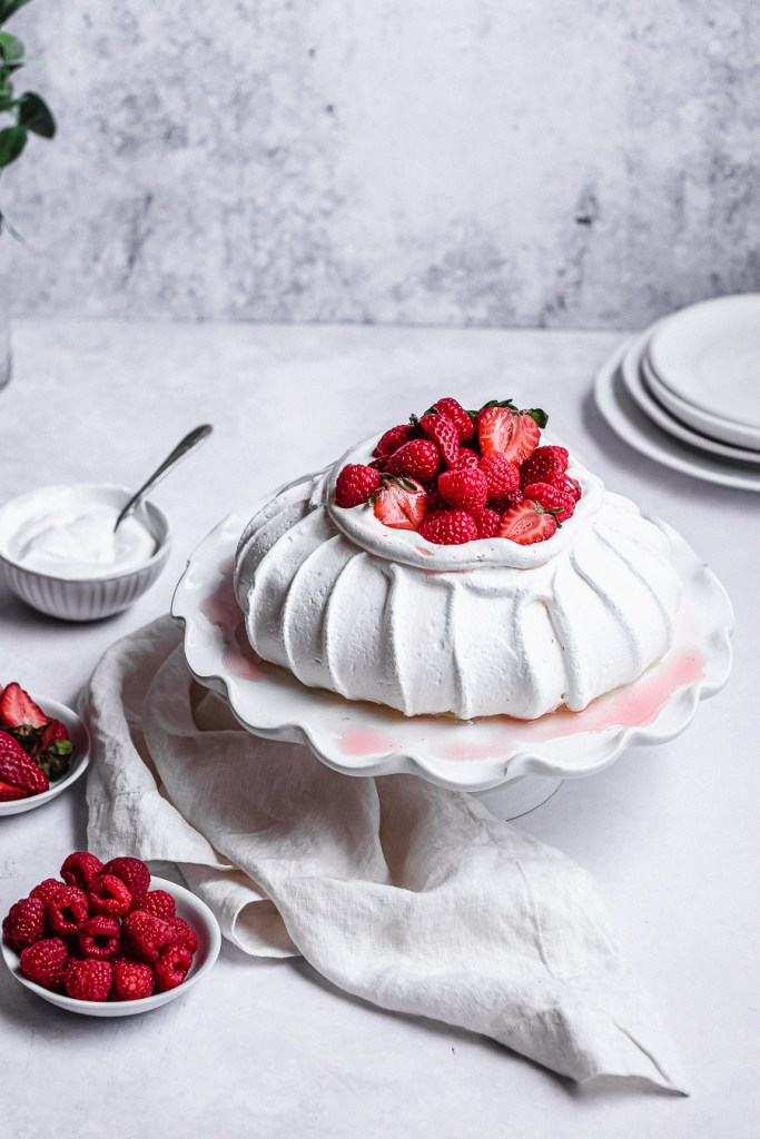 pavlova with juice running down