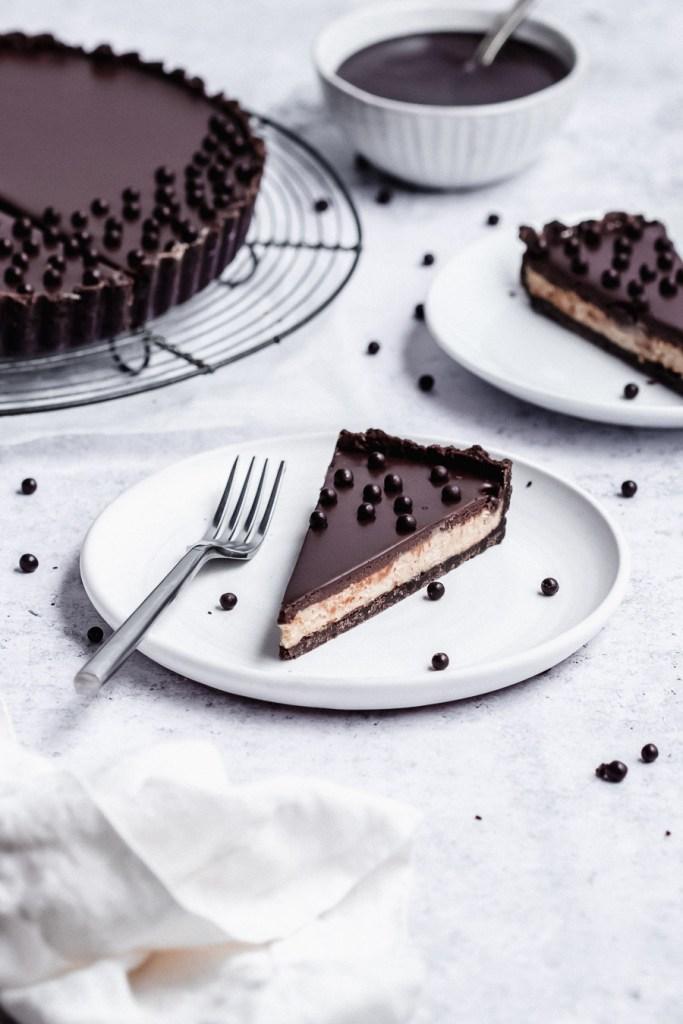 slices of chocolate tart