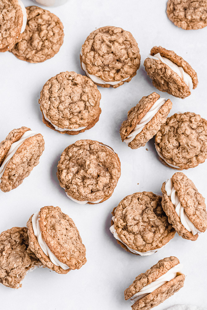 flat lay of brown butter oatmeal sandwich cookies