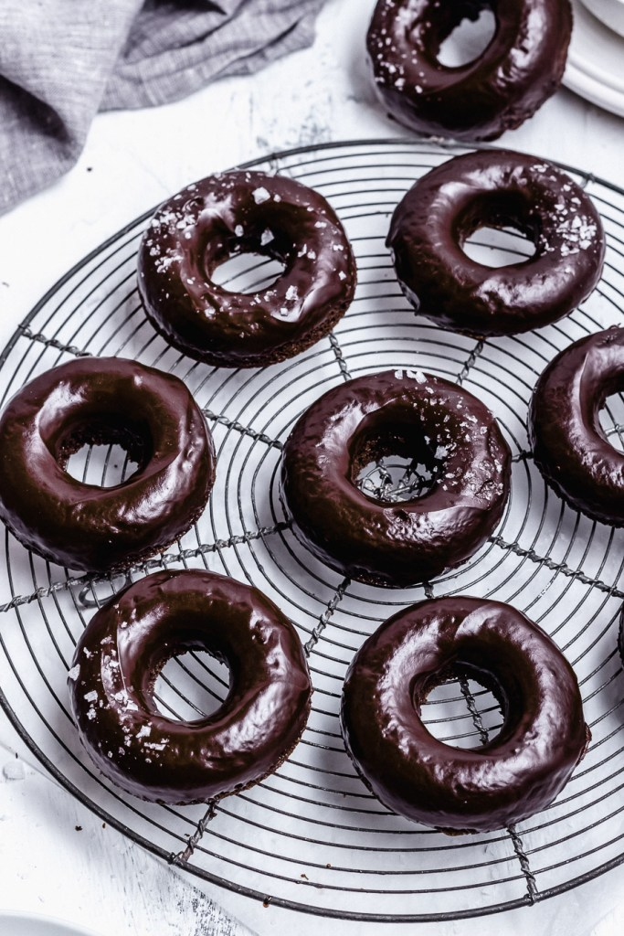 baked chocolate donuts with chocolate glaze